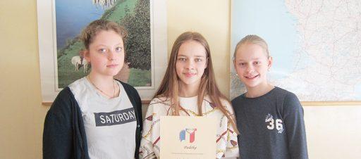 Sveikiname miesto 6 klasių prancūzų kalbos olimpiados II vietos laimėtojas