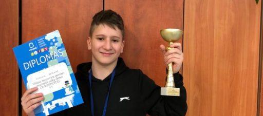Sveikinimai sportinės gimnastikos I vietos laimėtojui Dominik