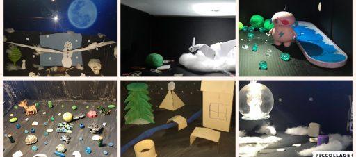 5c mokiniai namuose kūrė mini teatro sceną
