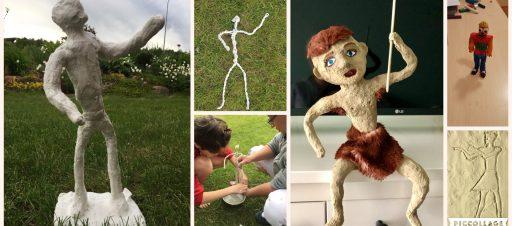 Žmonių figūros, kurtos dailės pamokose